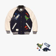 Coach x Colette varsity jacket, $200, coach.com; Coach x Colette Rexy and the Coach Beasts stickers, $45, coach.com