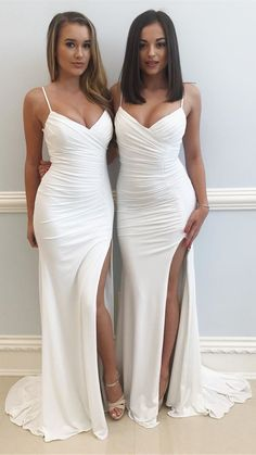 white long slit prom dress with train, 2018 long prom dresses formal evening dresses #longpromdresses