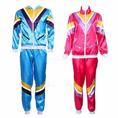 M L Womens Fancy Dress Workout Shell Suit 80s Costumes
