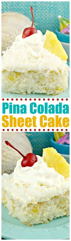 Pina Colada Sheet Cake~A delicious, incredibly moist, cake flavored with pineapple, coconut and dark rum! This cake starts with a cake mix so it's a snap to put together!