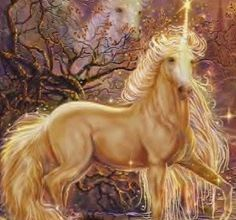 Gods Goddesses Legends Myths:  A golden unicorn.