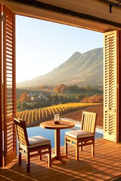 Cozy breakfast nook overlooking a wine vineyard valley...beautiful!