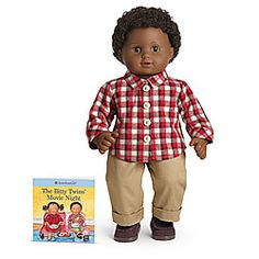 retired NEW American Girl Bitty Twin Autumn Plaid  Boy Outfit Set