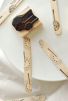 Home Day Craft: Stamped Sticks for bookmarks we make together