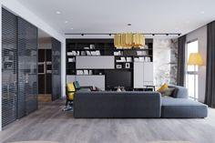 Dark grey walls ar coupled with light grey curtains and a large, medium grey…