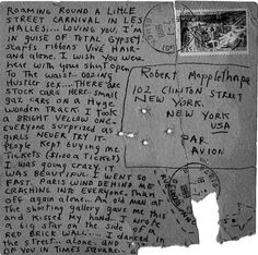 Patti Smith: postcard to Robert