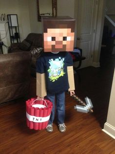 If a kid (or even an adult) had come to my door wearing this Minecraft costume, I think I may have given them my whole bowl of candy!