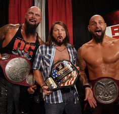 WWE United States Champion AJ Styles and Raw Tag Team Champions, Luke Gallows and Karl Anderson Aj Styles Wwe, Balor Club, Shayna Baszler, Wrestling Superstars, Wwe Champions, Wwe Wallpapers, The Oc, Wwe News, Professional Wrestling