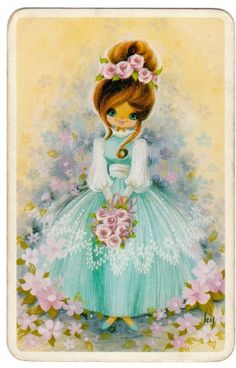 1970s vintage blank back swap card Young lady and flowers Joy Artist Sold $24.50