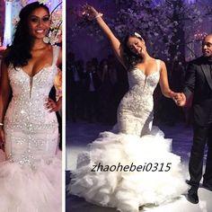 Sexy Spaghetti Mermaid Wedding Dress Bling Crystal Bead Bridal Gowns Custom Made