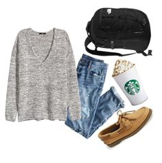 """""""Lattes and a little gossip girl after school?"""" by so-preppy ❤ liked on Polyvore featuring J.Crew, H&M, Sperry Top-Sider and The North Face"""