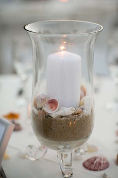 Lovely Beach-Themed Candle Centerpiece