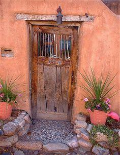 Gate/door in New Mexico by minerva Cool Doors, Unique Doors, Door Knockers, Door Knobs, O Portal, Santa Fe Style, When One Door Closes, Door Gate, Grand Entrance