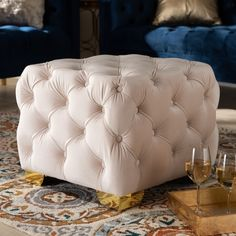 Baxton Studio Avara Glam and Luxe Light Beige Velvet Fabric Upholstered Gold Finished Button Tufted Ottoman Ottoman Footstool, Fabric Ottoman, Upholstered Ottoman, Baxton Studio, Leather Ottoman, Tufting Buttons, Light Beige, Gold Light, Sofa Design