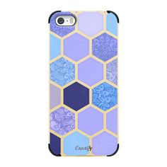 Lavender & Indigo Purple Hexagon Pattern - iPhone 7 Case, iPhone 7... ($45) ❤ liked on Polyvore featuring accessories, tech accessories, phone cases, phones, cases and electronics