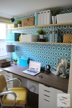 Open Shelving in the home office :: OrganizingMadeFun.com