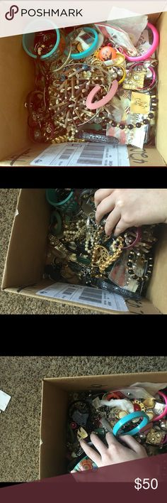 Huge box of costume and miscellaneous jewelry Tons of all kinds of jewelry. Who knows there might even be some real gold or silver. I don't know and don't have time to find out. . These are at my mothers house. I will be here July 17-22 and then august 12-18. So it must be purchased on one of those dates so I can ship it. Jewelry