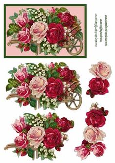Romantic Vintage Roses Decoupage on Craftsuprint designed by Russ Smith - Decoupage sheet using an image of an assortment of beautiful vintage roses. Matching backing available. - Now available for download!