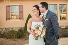 Kristen and Jeremy's #sterlingonthelake, wedding.  #peach, #blush, #bridalbouquet, #hydrangeas, #peachroses