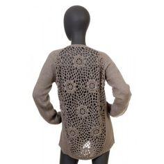 Liu Jo - szary sweter z ażurowymi plecami