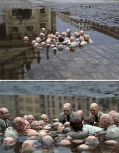 """Issac Cordal's miniature sculpture """"Electoral Campaign"""" in a puddle in Berlin. 2011"""