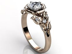 14k rose gold diamond unusual unique flower engagement ring, bridal ring, wedding ring.    Mysterious and sensual flowers are one of my traditional