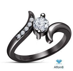 0.47 CT Round Cut D/VVS1 925 Silver Diamond Women's Bypass Engagement Ring  #Affoin8 #WomensBypassEngagementRing