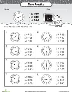 Clock Problems for 2nd Grade 2nd grade math worksheets