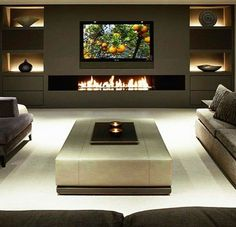 Top Living Room Design Ideas [The Best Tips for Your Next Update] - Home Theater Design Living Room Modern, Home Living Room, Living Room Decor, Cozy Living, Living Room Ideas 2018, Living Room Designs, Living Room Wall Units, Living Area, Home Theater Design