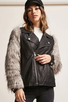 Product Name:Goldie London Faux Fur Moto Jacket, Category:CLEARANCE_ZERO, Price:145