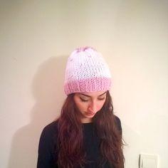 Cozy Pink White Heart Beanie Knit Beanie Hand by HandicraftByDamla