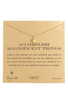 Dogeared 'Accomplish Magnificent Things' Boxed Pendant Necklace available at #Nordstrom for Kylee