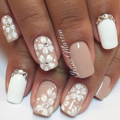 Beige and white nails, flower nail art, Flower summer nails, Manicure by summer…