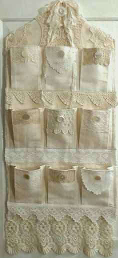 Vintage style antique lace, buttons and drop cloth organizer