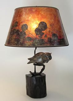 "Rustic Bronze Owl Table Lamp, Amber mica oval  shade, ""Night has Arrived"", by Sue Johnson"