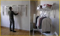 I love this idea!!! Hang folding chairs on the wall for instant shelf and clothes rack! MonaRAEbeads.etsy.com