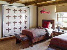 Bedroom in Rustic Retreat by Kylee Shintaffer Design on Elsie De Wolfe, Palm Beach, Interior Design Portfolios, Cabins And Cottages, Kids Bedroom, Kids Rooms, Teen Rooms, Rustic Design, Contemporary Furniture