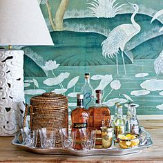 Stock a Proper Bar - Foolproof Formulas for Home Decorating - Southernliving. Stock the bar in style with Phoebe's easy bar formula. Learn How To Stock the Bar Southern Living, Coastal Living, Coastal Country, Coastal Decor, Bandeja Bar, Soirée Halloween, Bar Tray, Trays, Drinks Tray