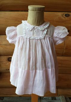 Vintage 1950s Tiny Tots Philippines Lord & Taylor Fifth Avenue Pink Dress, Lace