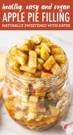 This healthy apple pie filling is naturally sweetened with dates, completely raw (so it doesn't need to be cooked) and perfectly spiced with cinnamon and nutmeg. #eatingbirdfood #applepie #applepiefilling #raw #vegan #thanksgiving #apples #nobake
