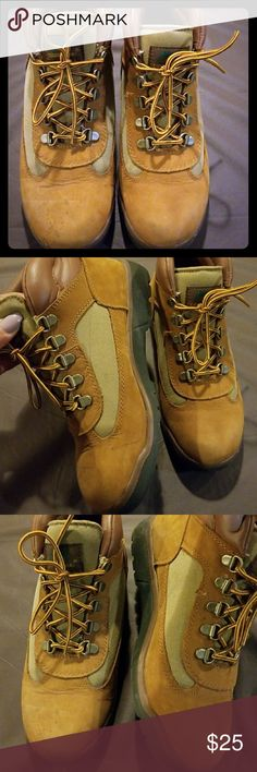 Timberland boots Brown suede timberlands have some  flaws to the front of the boot nothing suede cleaner can't take care of .. Timberland Shoes Ankle Boots & Booties