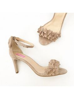 Sandale Petal Love Medium Heels (Lunar Collection)    floral sandals Pantofica.ro, suede leather, nude