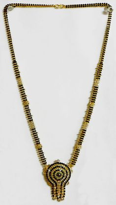 Gold Plated and Black Stone Studded Mangalsutra with Pendant $18.50 only