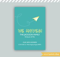 Digital Printable We're Moving (Moved) Card Paper Airplane - PDF. $10.00, via Etsy.