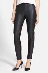 A buttery-soft faux leather coating adds light-catching flair to the front of woven leggings that are cut in an ankle-skimming silhouette. Faux Leather Leggings, Black Faux Leather, Black Leggings, Leggings Are Not Pants, Fleece Leggings, Cotton Leggings, Leggings Negros, Seamless Leggings, Knit Shirt