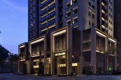 Original Master Lighting Design Consultants Limited Mall Facade, Retail Facade, Facade Lighting, Exterior Lighting, Art Deco Buildings, Modern Buildings, Mix Use Building, Building Design, Architectural Lighting Design