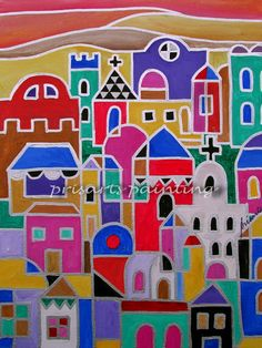 Folk Art Painting Mexican Town Landscape Guanajato by prisarts, $125.00, HOUSEWARMING gift, Guanajato Mexico, Colorful, Landscape, Houses,Housing,Colors,Abstract,modern, home,design,art