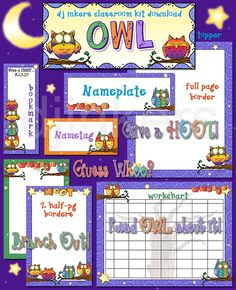Borders, name tags, bookmarks & clip art to theme your classroom with owls by Dianne J Hook.