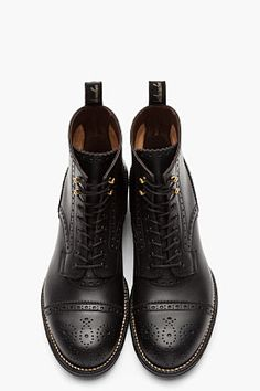 Black leather brogued Boots.