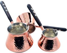 Free XPRESS Shipping - (SET of 3) Thickest Solid Hammered Copper Turkish Greek Stovetop Coffee Maker Pot Cezve Ibrik Briki Wooden Handle SET